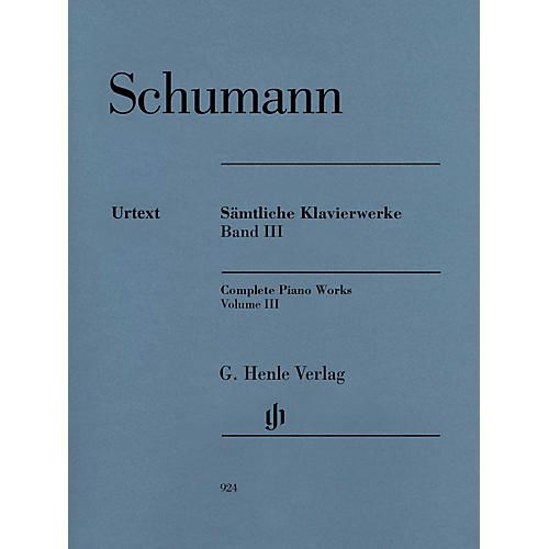G. Henle Verlag Complete Piano Works - Volume 3 Henle Music Softcover by Robert Schumann Edited by Ernst Herttrich thumbnail