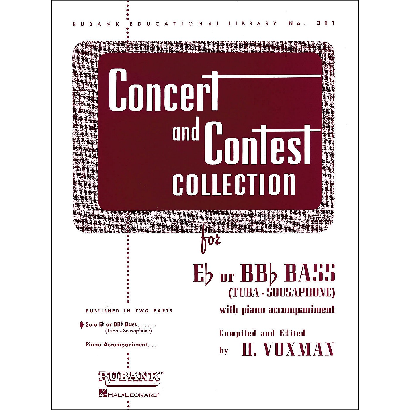 Hal Leonard Concert And Contest Collection for E Flat Or Bb Flat Bass Tuba Solo Part Only thumbnail