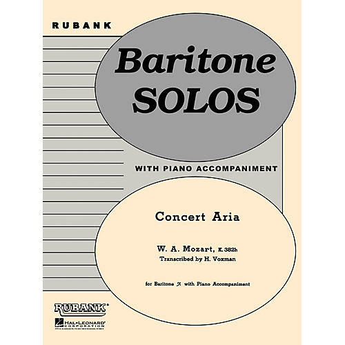 Rubank Publications Concert Aria, K. 382h (Baritone B.C. Solo with Piano - Grade 3.5) Rubank Solo/Ensemble Sheet Series thumbnail