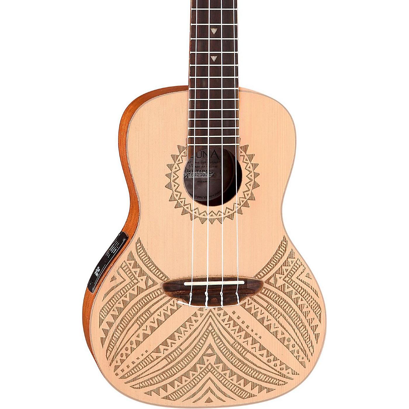 Luna Guitars Concert Solid Spruce Top Tapa Design Acoustic Electric Ukulele thumbnail