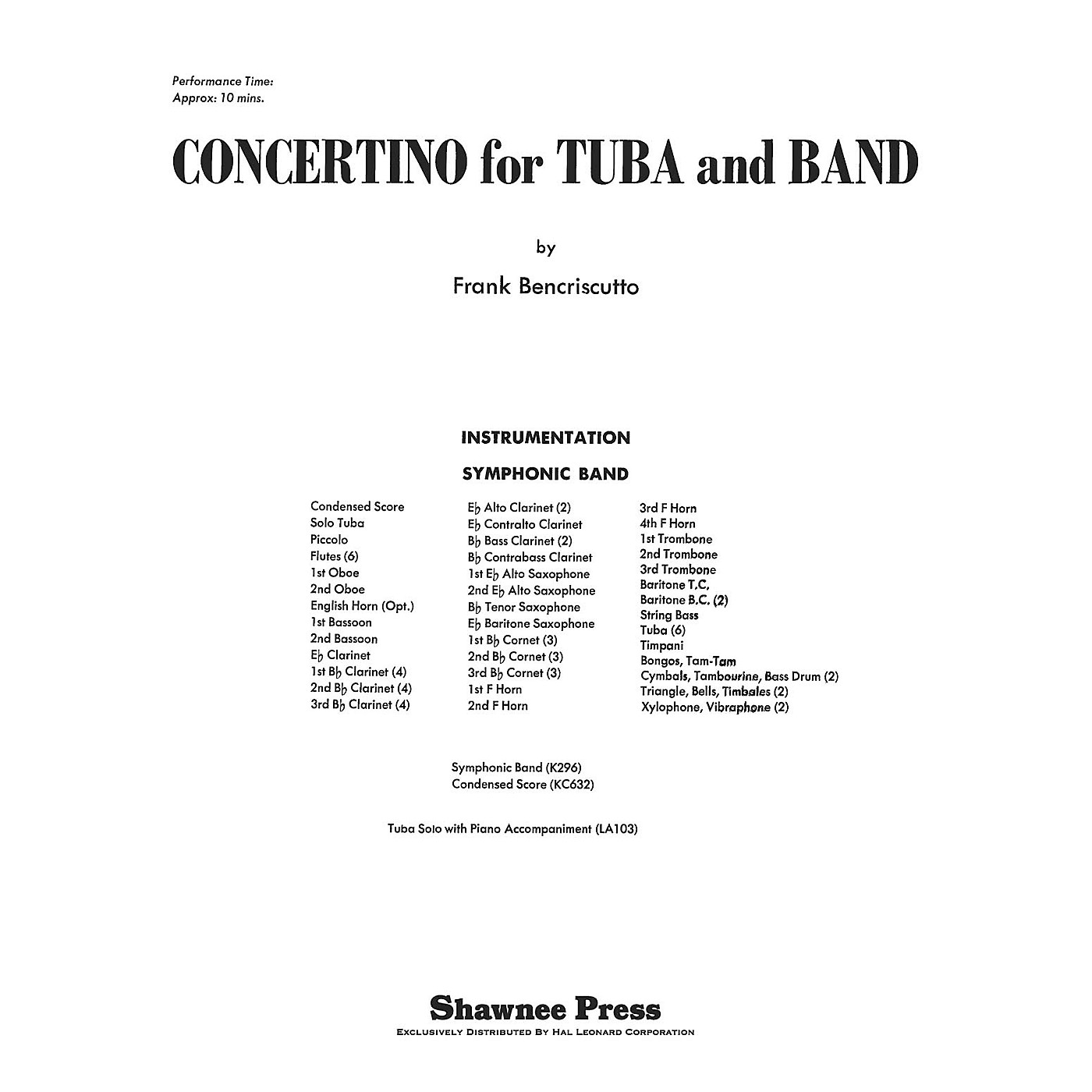 Shawnee Press Concertino for Tuba and Band Concert Band Level 3 Composed by Bencriscutto thumbnail