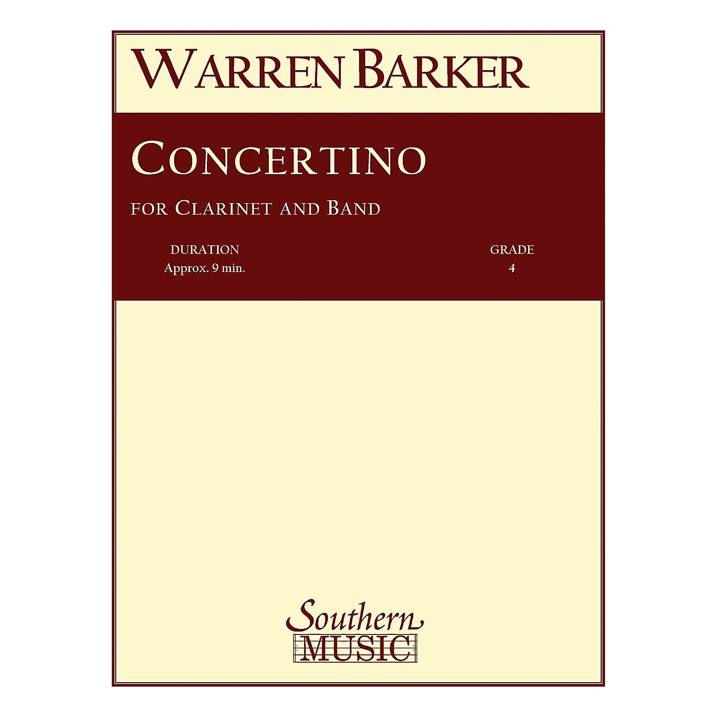 Southern Concertino (with Clarinet Solo) Concert Band Level 4 Composed by Warren Barker thumbnail