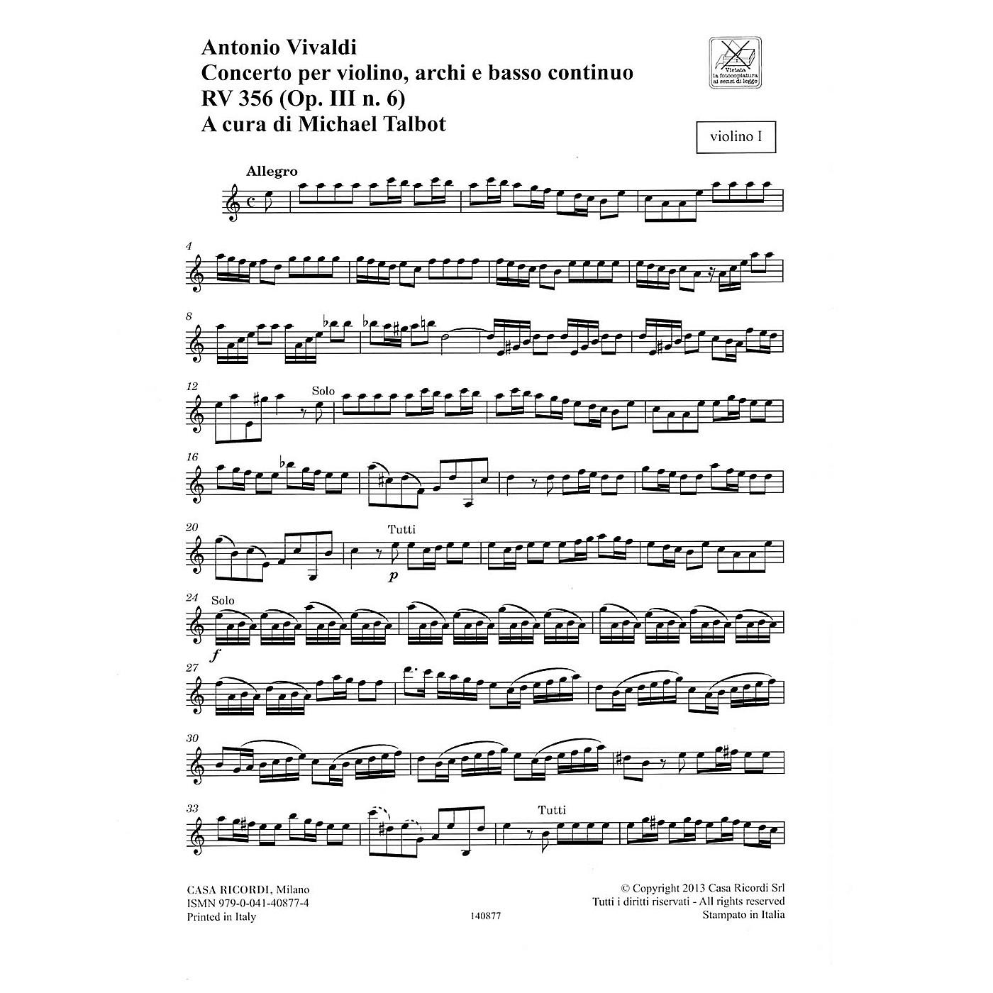 Ricordi Concerto A Minor, RV 356, Op. III, No. 6 String Orchestra Series Softcover Composed by Antonio Vivaldi thumbnail