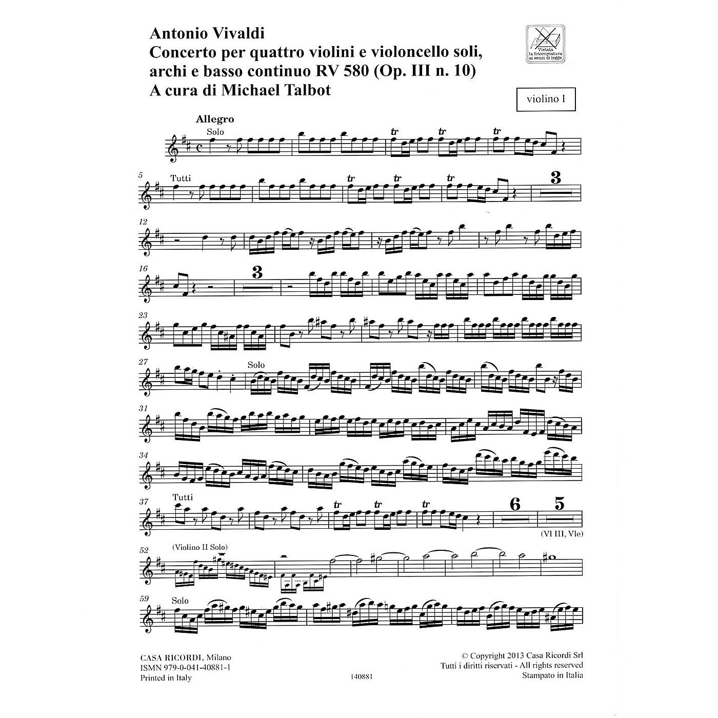 Ricordi Concerto B Minor RV 580, Op. III No. 10 String Orchestra Series Softcover Composed by Antonio Vivaldi thumbnail