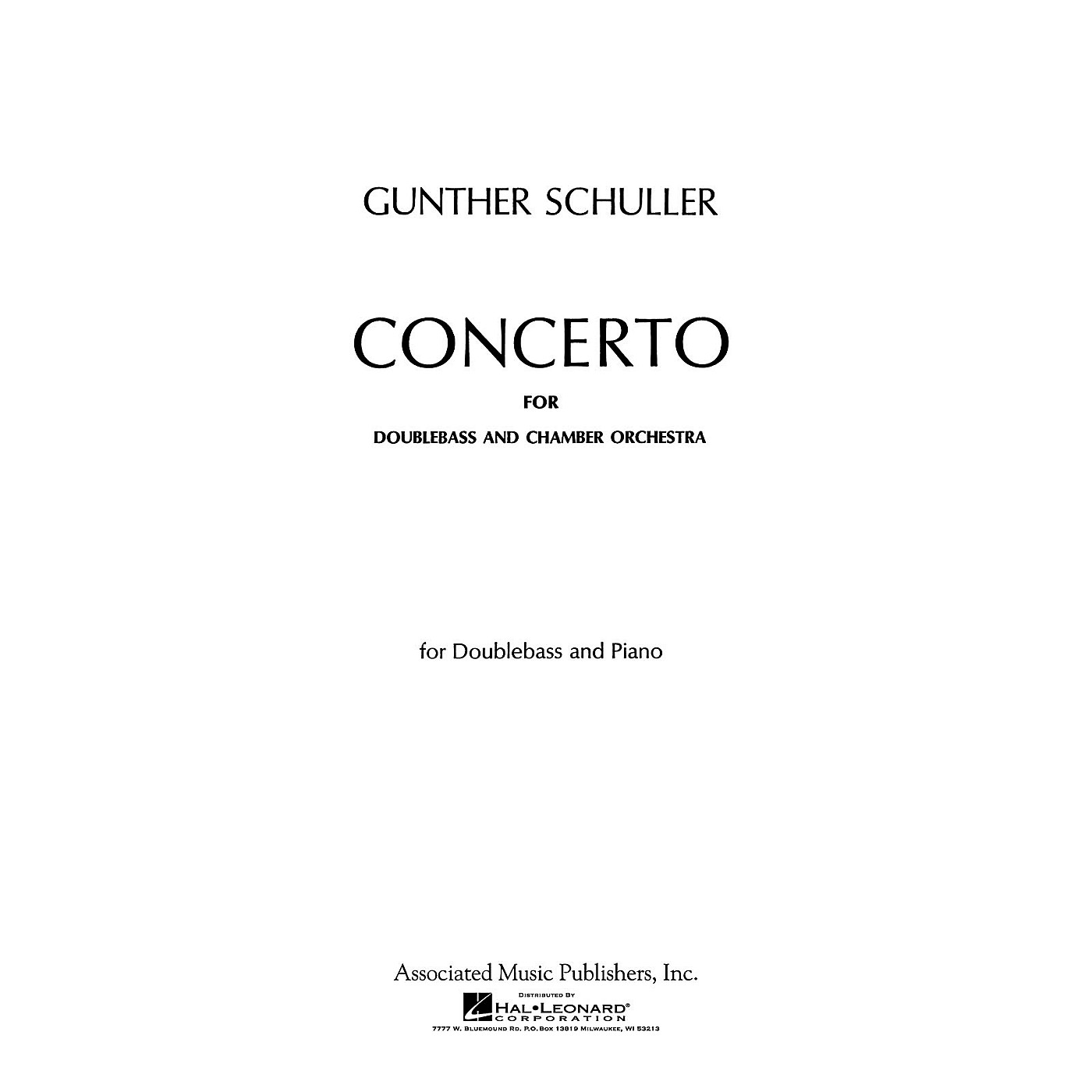 Associated Concerto (Double Bass Part) String Solo Series Composed by Gunther Schuller thumbnail