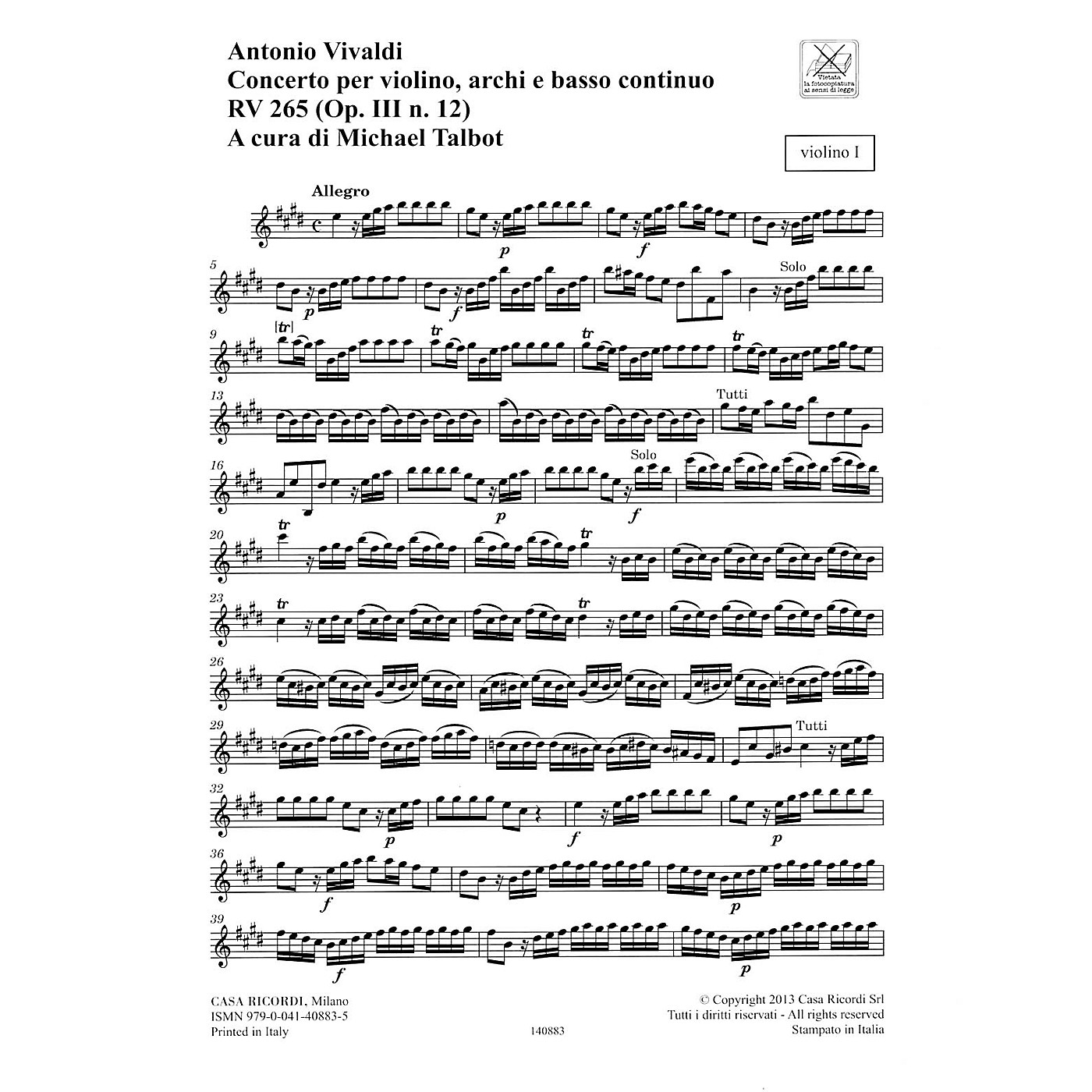 Ricordi Concerto E Major, RV 265, Op. III, No. 12 String Orchestra Series Softcover Composed by Antonio Vivaldi thumbnail