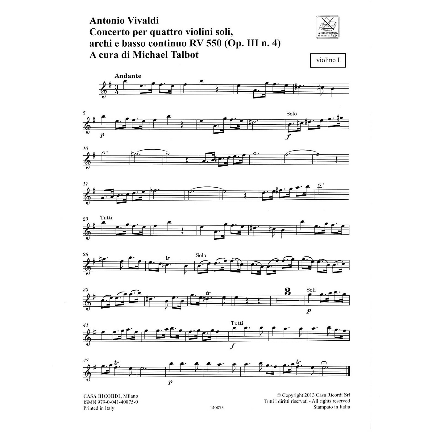 Ricordi Concerto E Minor, RV 550, Op. III, No. 4 String Orchestra Series Softcover Composed by Antonio Vivaldi thumbnail
