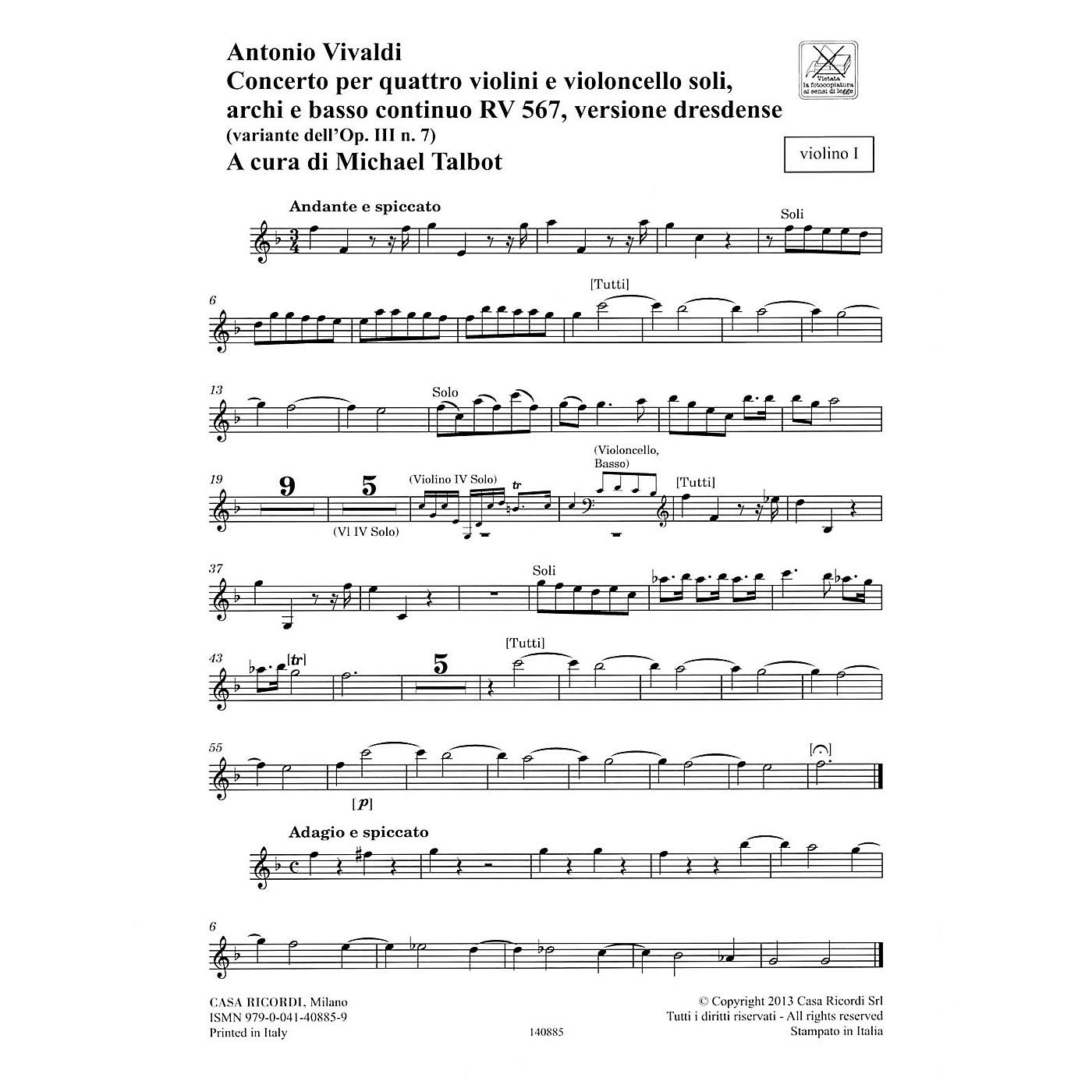 Ricordi Concerto F Major, RV 567, Op. III, No. 7/Variant of Op. 3, No. 7 String Orchestra by Antonio Vivaldi thumbnail
