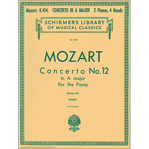 G. Schirmer Concerto No 12 A Major K414 2 Pianos 4 Hands Score By Mozart-thumbnail