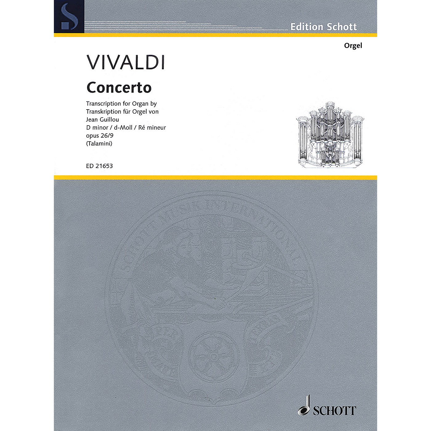 Schott Concerto Op. 26/9 in D minor (Trancription for Organ by Jean Guillou) Schott Series Softcover thumbnail