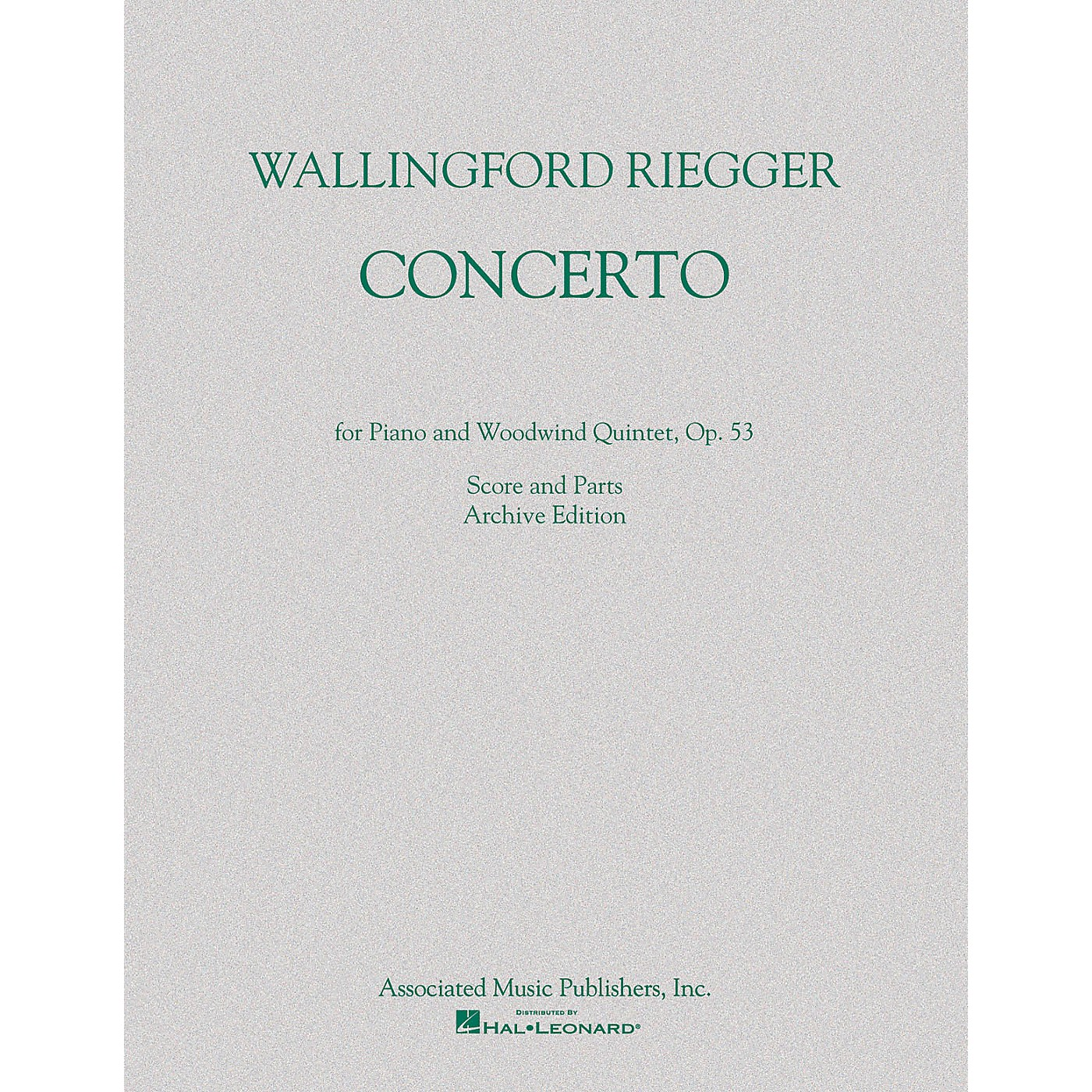 G. Schirmer Concerto for Piano and Woodwind Quintet, Op. 53 (Score and Parts) Ensemble Series by Wallingford Riegger thumbnail