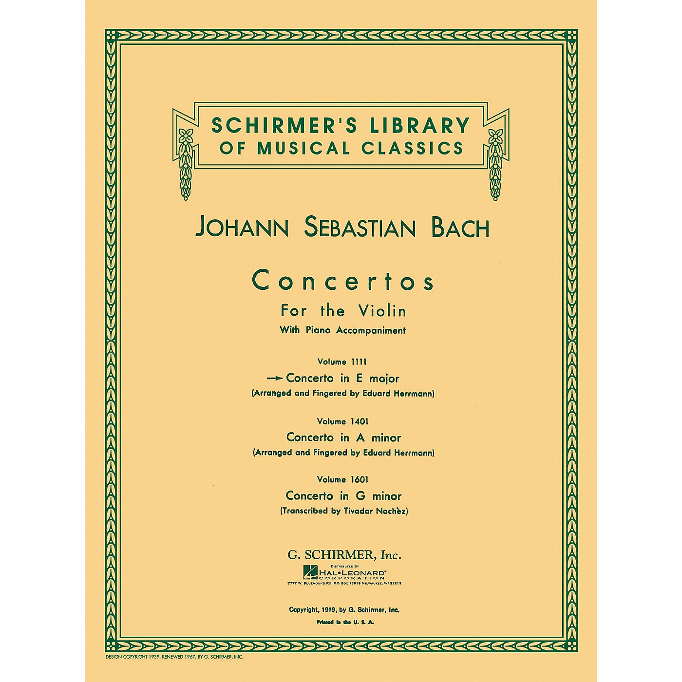 G. Schirmer Concerto for Violin In E Major with Piano Reduction By Bach thumbnail