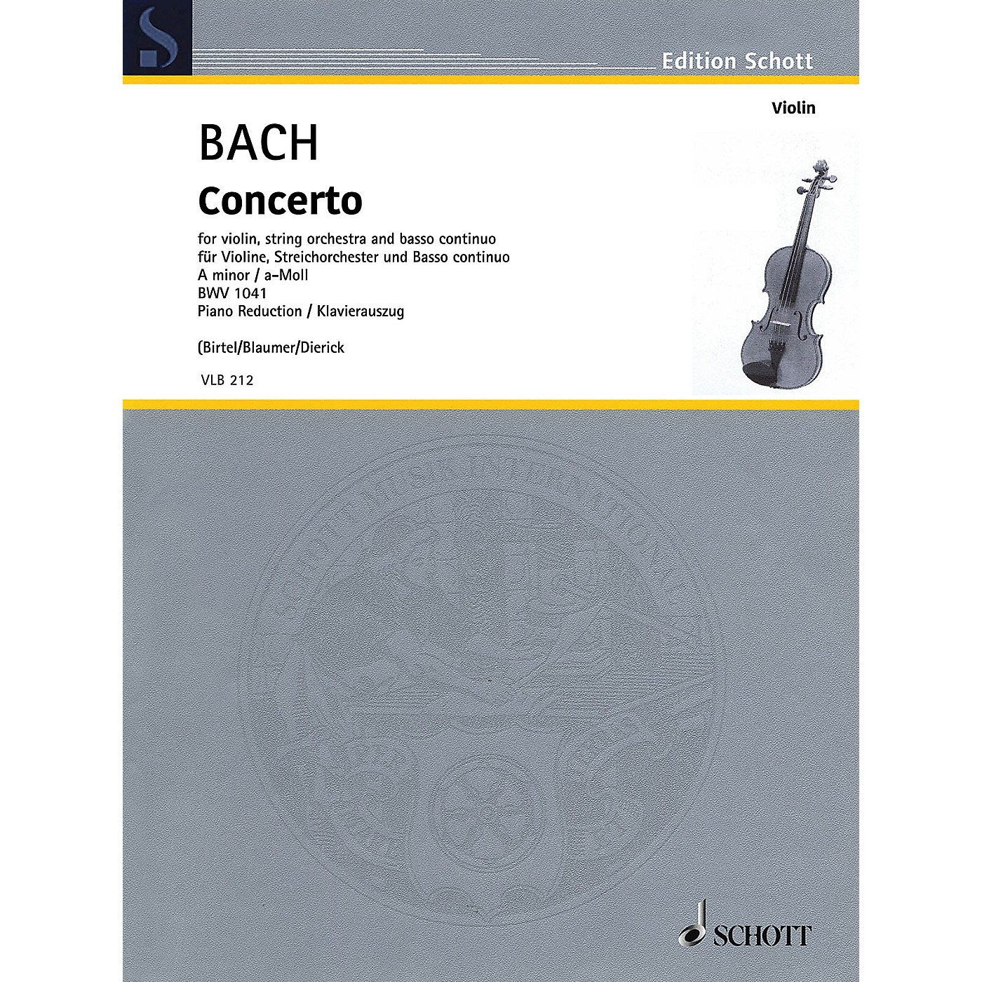Schott Concerto in A Minor BWV1041 Violin and Piano Reduction - String Solo thumbnail