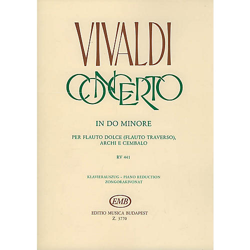 Editio Musica Budapest Concerto in C Minor for Flute, Strings and Continuo, RV 441 EMB Series by Antonio Vivaldi thumbnail