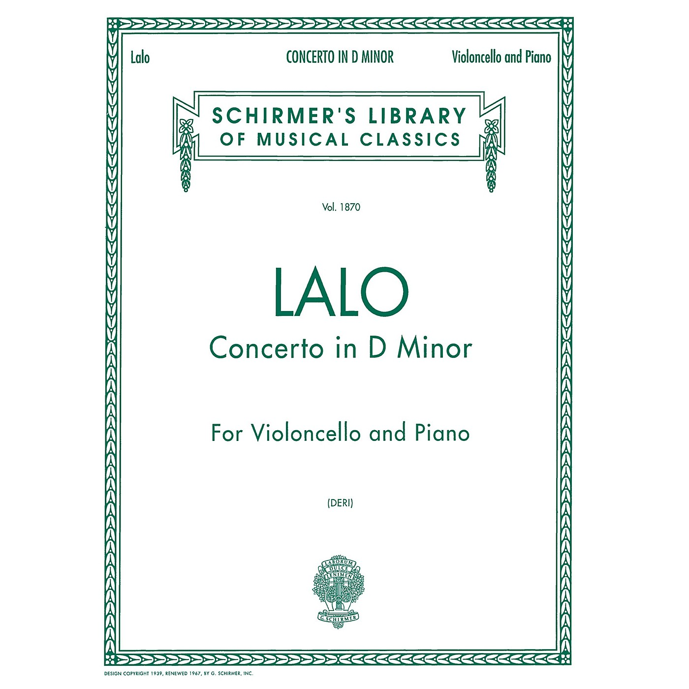 G. Schirmer Concerto in D Minor (Score and Parts) String Solo Series Composed by Edouard Lalo Edited by Otto Deri thumbnail
