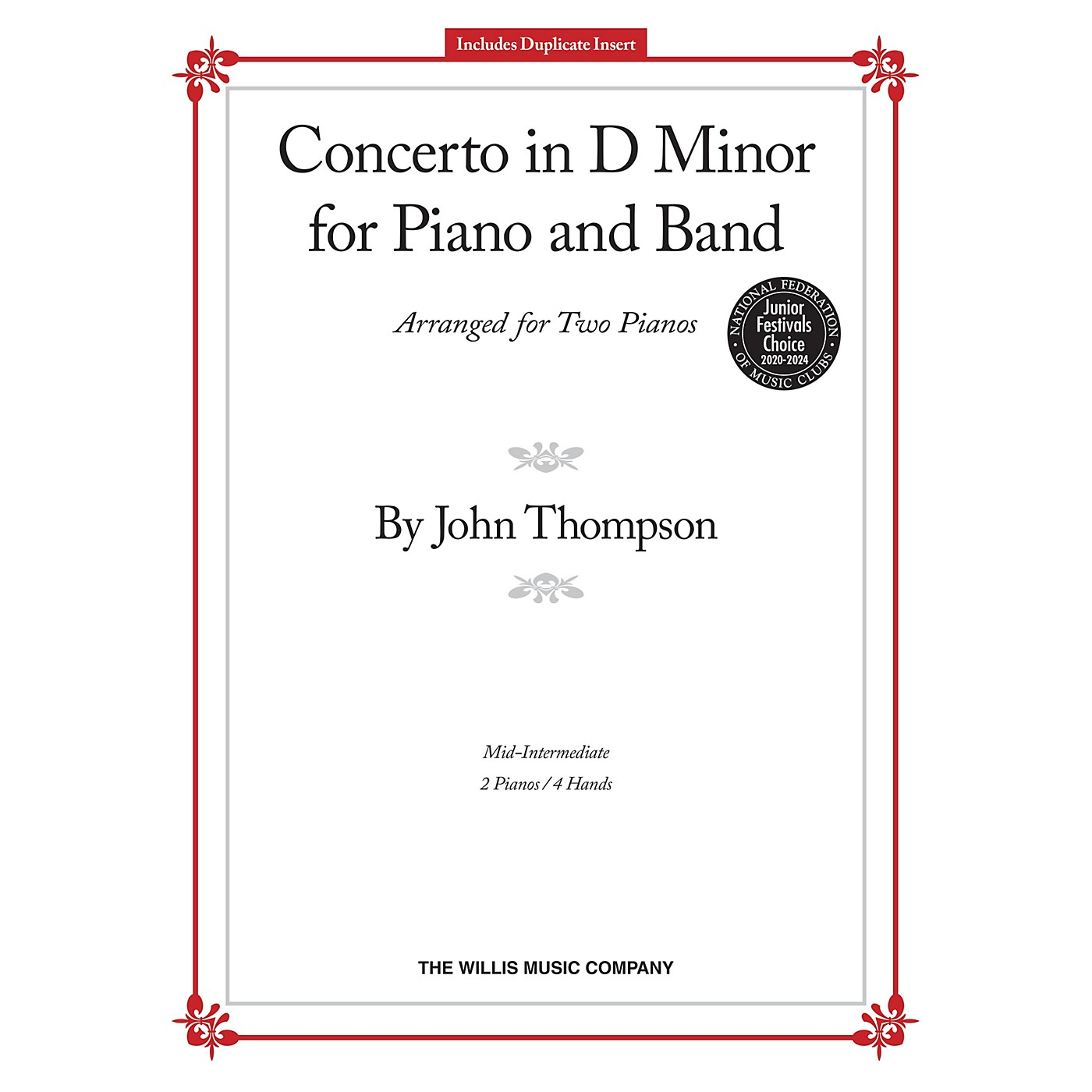 Willis Music Concerto in D Minor Willis Series by John Thompson (Level Mid-Inter) thumbnail