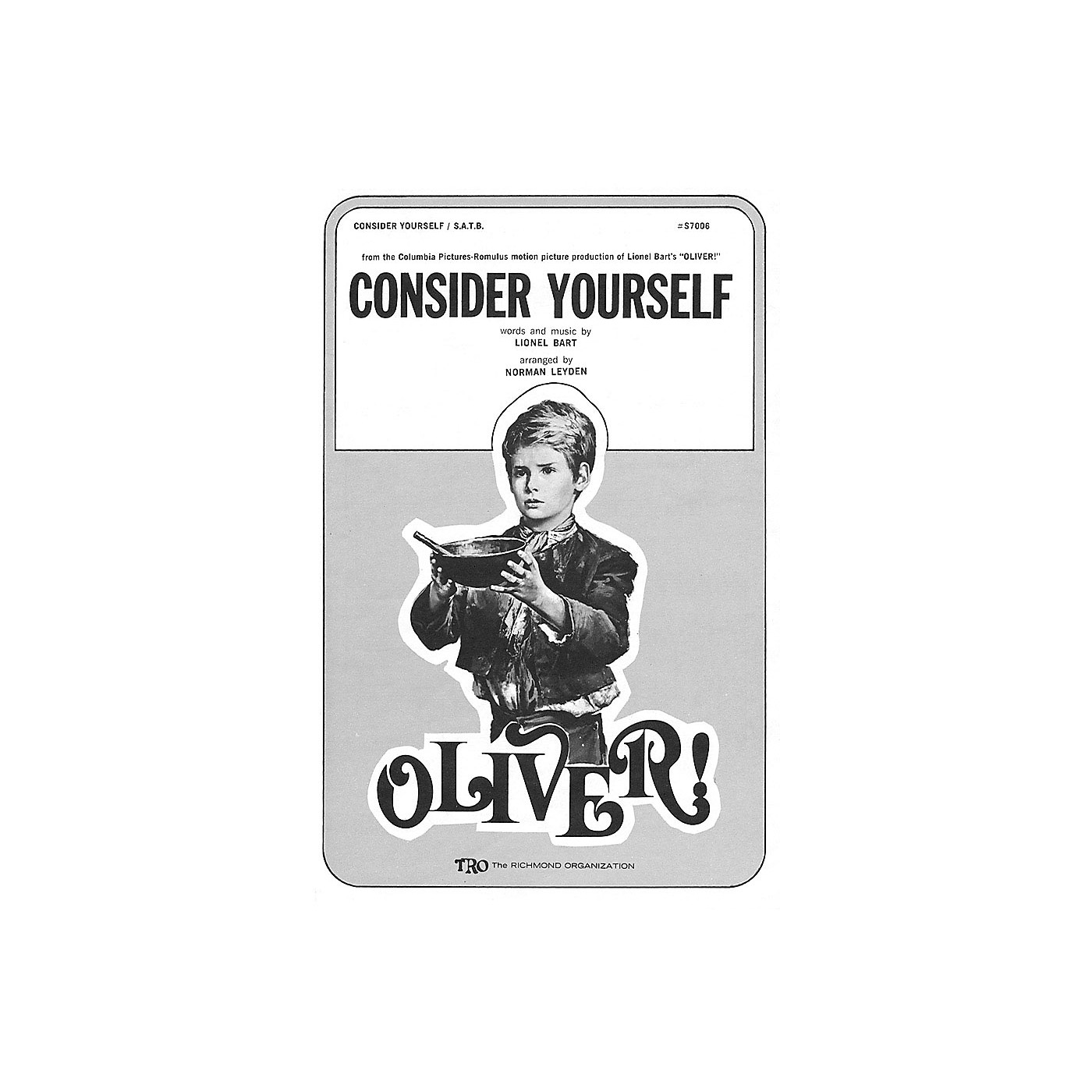 TRO ESSEX Music Group Consider Yourself (from Oliver) SA Arranged by Norman Leyden thumbnail