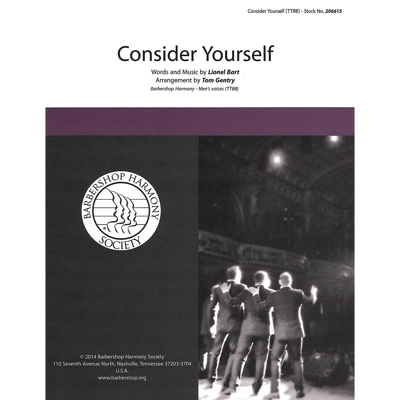Barbershop Harmony Society Consider Yourself (from Oliver) TTBB A Cappella arranged by Tom Gentry thumbnail