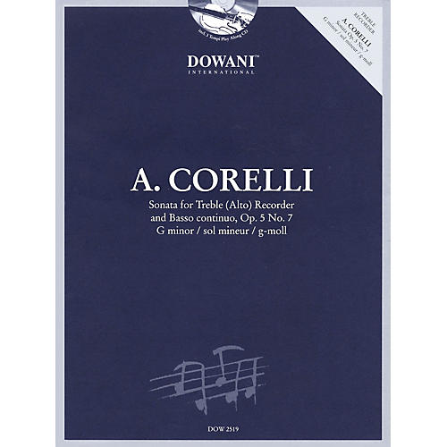 Dowani Editions Corelli: Sonata for Treble (Alto) Recorder & Basso Continuo Op. 5, No. 7 G Minor Dowani Book/CD thumbnail