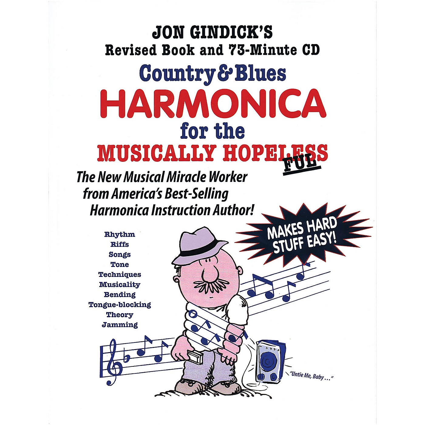 Cross Harp Press Country & Blues Harmonica for the Musically Hopeless Music Sales America Softcover with CD by Jon Gindick thumbnail