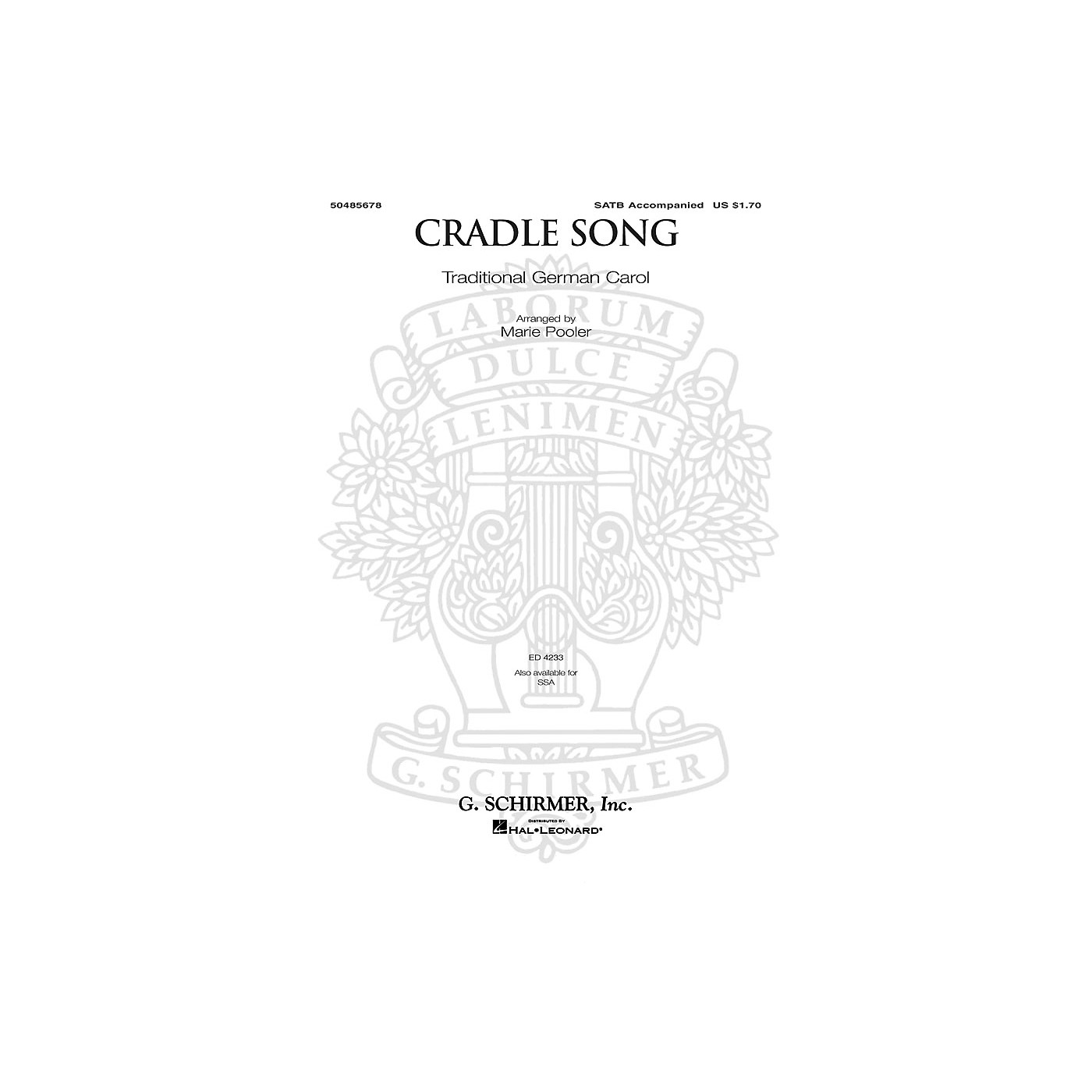 G. Schirmer Cradle Song SATB arranged by Marie Pooler thumbnail