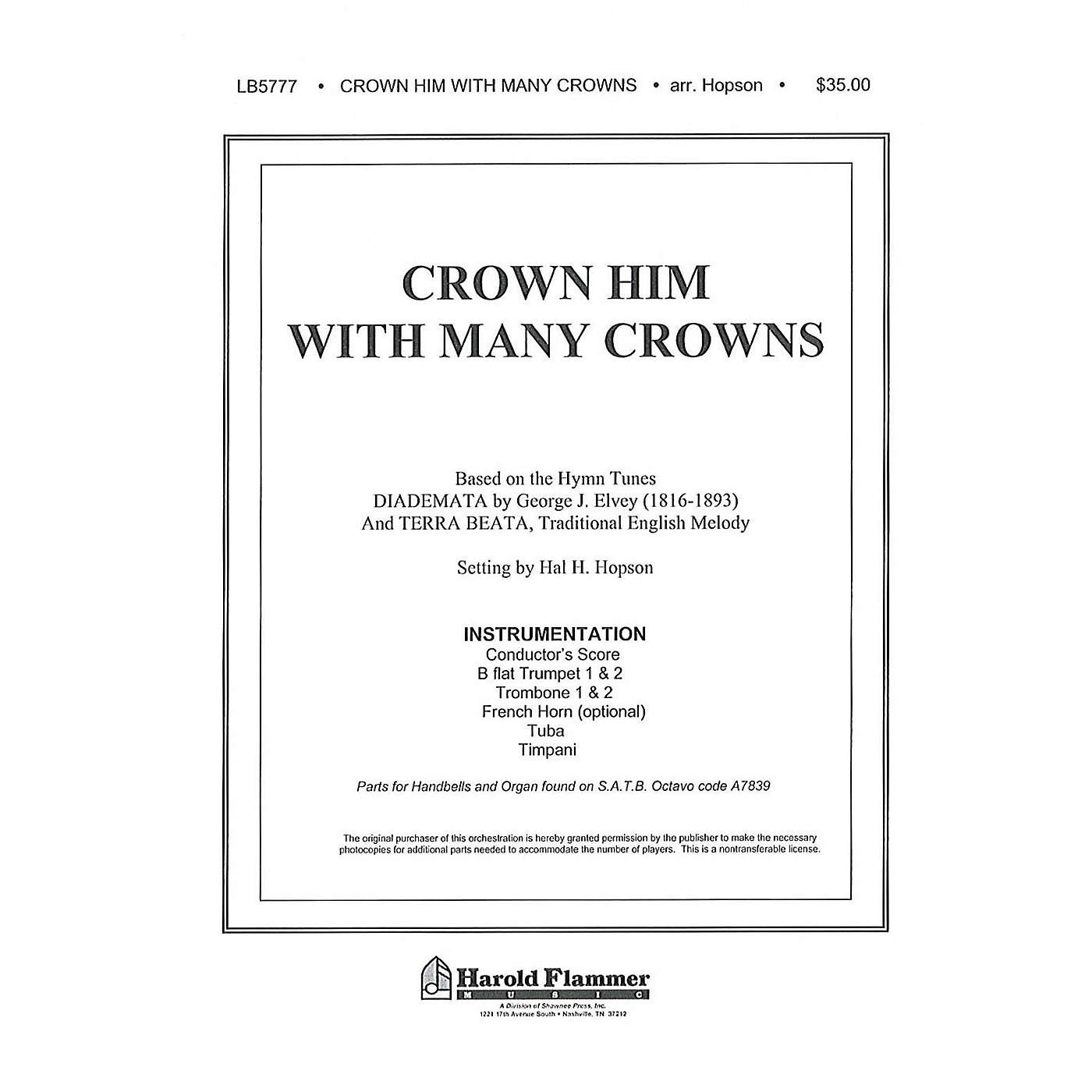 Shawnee Press Crown Him with Many Crowns INSTRUMENTAL ACCOMP PARTS Arranged by Hal Hopson thumbnail