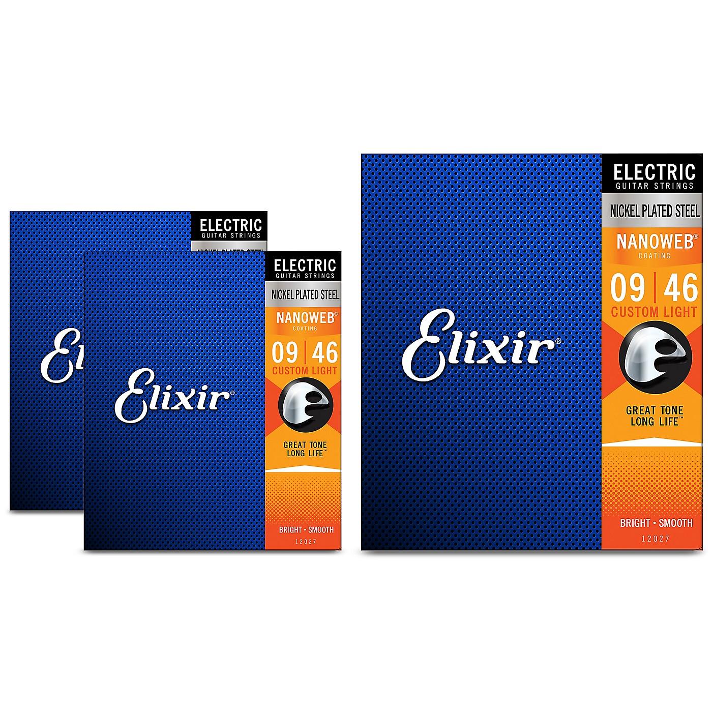Elixir Custom Light Nanoweb Electric Guitar Strings 3 Pack thumbnail