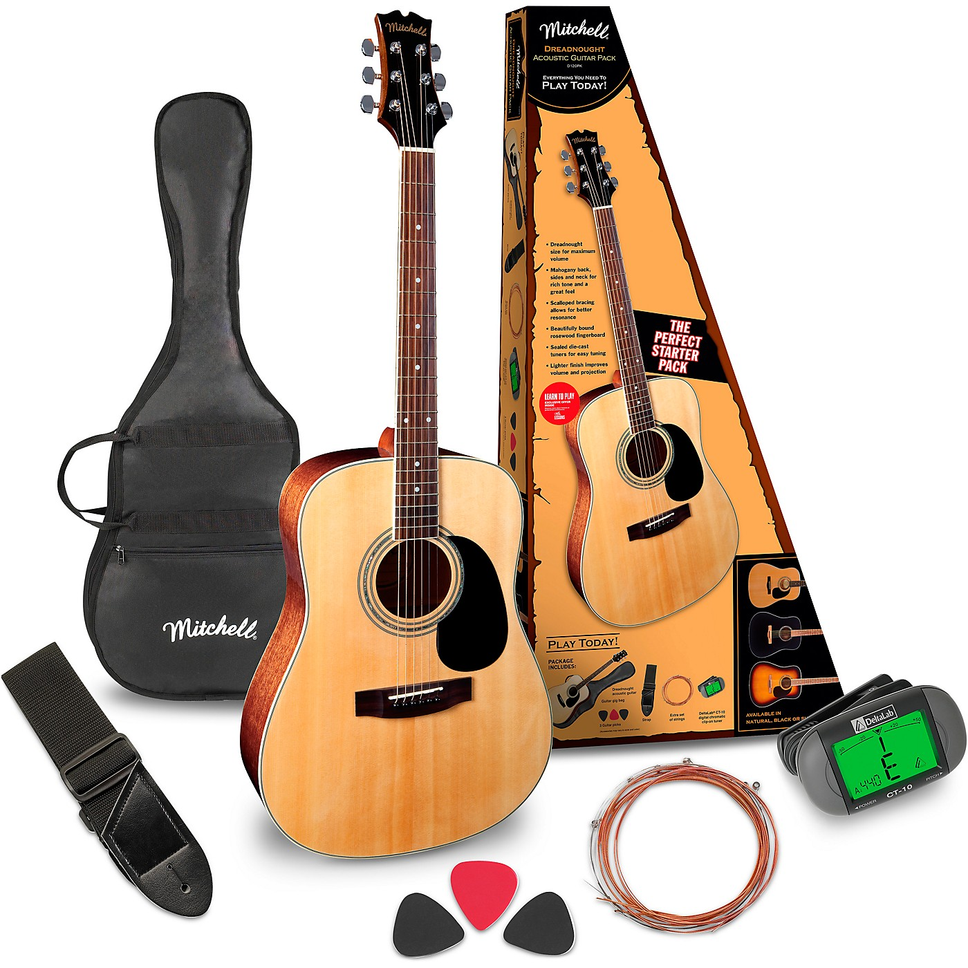 Mitchell D120PK Acoustic Guitar Value Package thumbnail