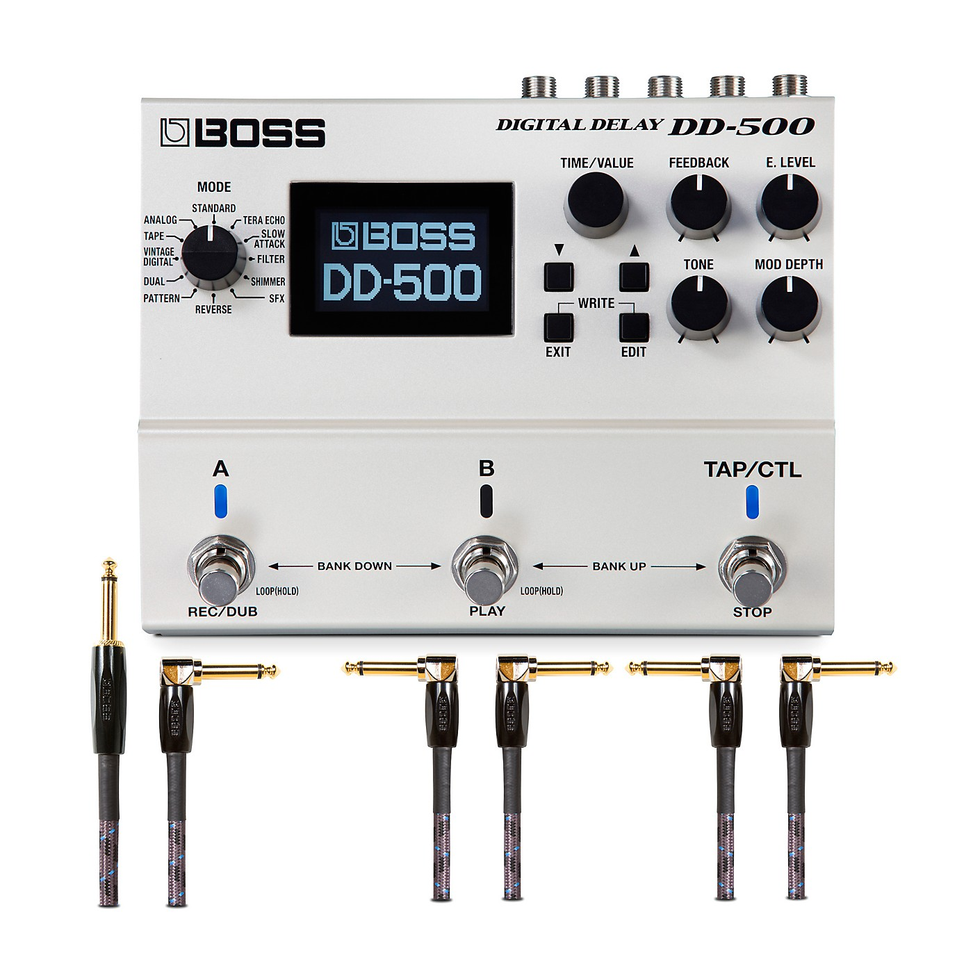 Boss DD-500 Digital Delay Effects Pedal and Instrument Cables Bundle thumbnail
