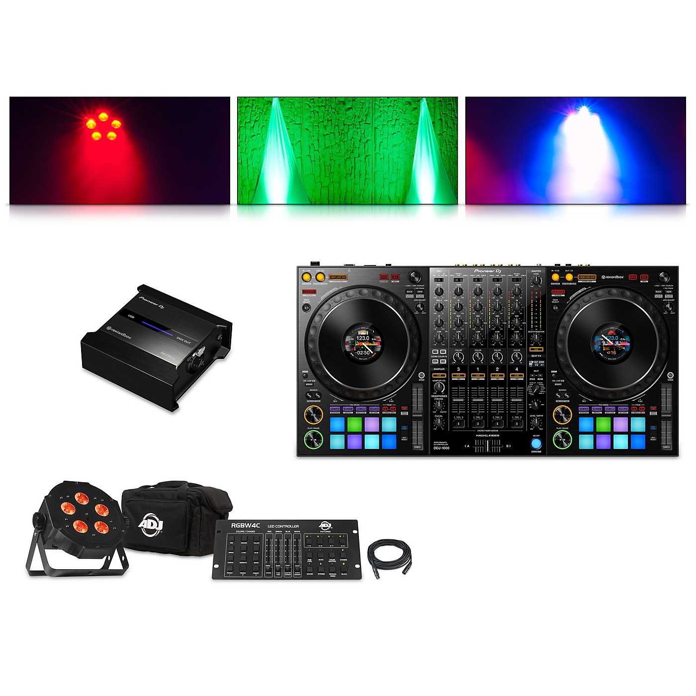 Pioneer DDJ-1000 Performance Controller with RB-DMX1 Lighting Controller and ADJ Ultra Quad Pak Pro thumbnail