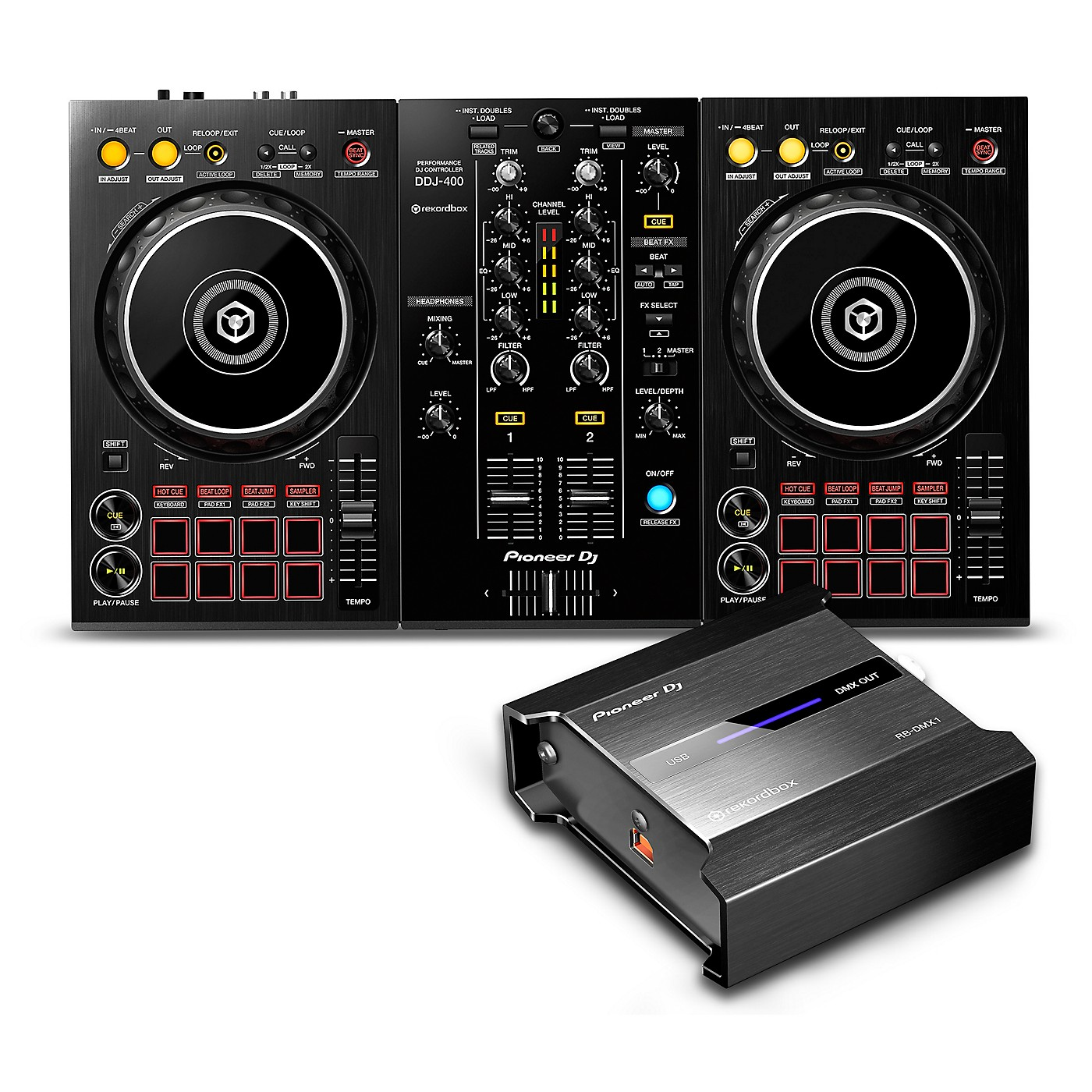 Pioneer DDJ-400 Performance Controller with RB-DMX1 Lighting Controller for Rekordbox thumbnail