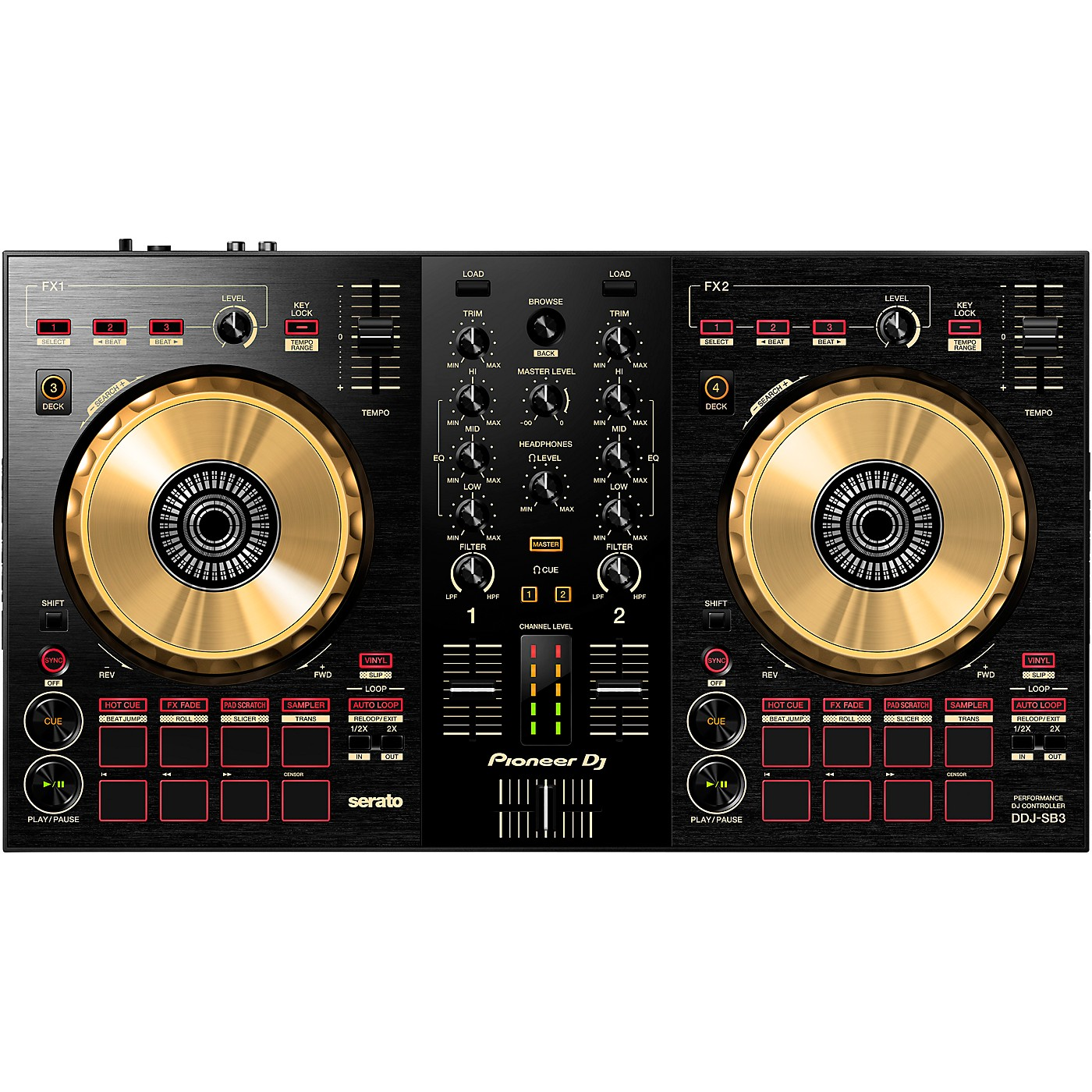 Pioneer DJ DDJ-SB3-N Limited Edition Gold Serato DJ Controller With Pad Scratch thumbnail