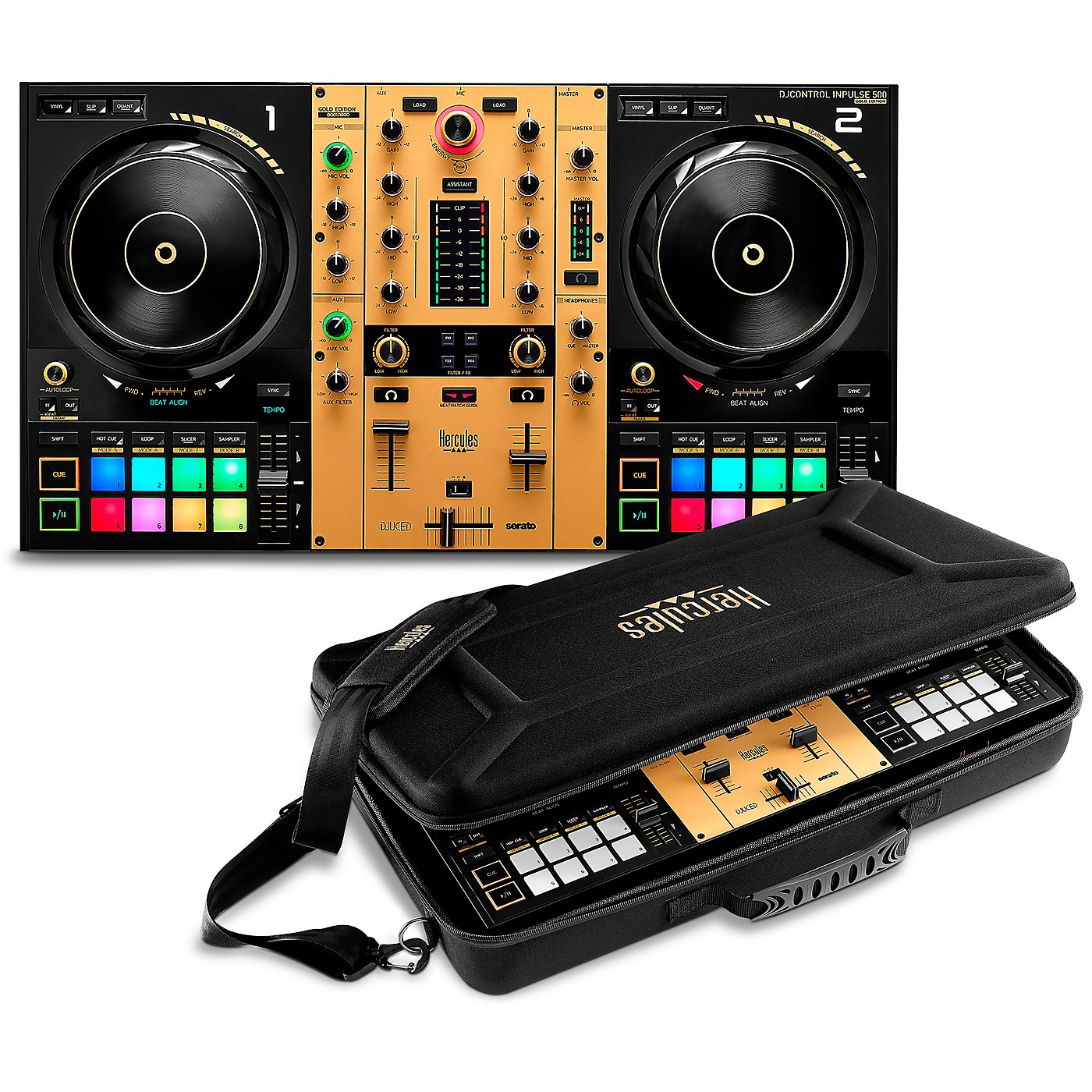 Hercules DJ DJControl Inpulse 500 2-channel DJ Controller in Limited-Edition Gold thumbnail