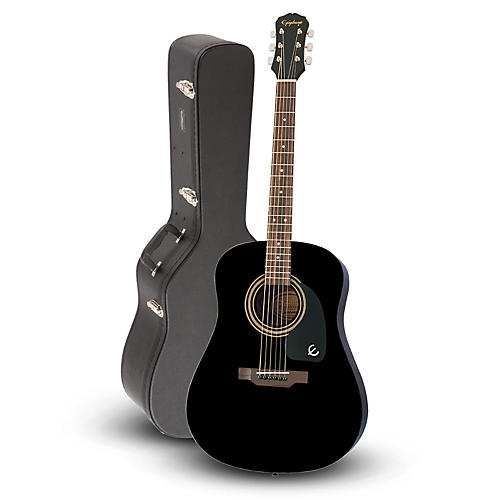 Epiphone DR-100 Acoustic Guitar Black with Road Runner RRDWA Case thumbnail