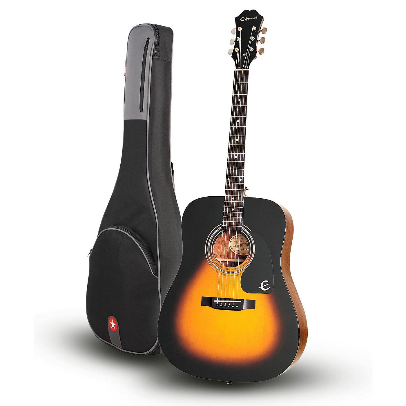 Epiphone DR-100 Acoustic Guitar Vintage Sunburst with Road Runner RR1AG Gig Bag thumbnail