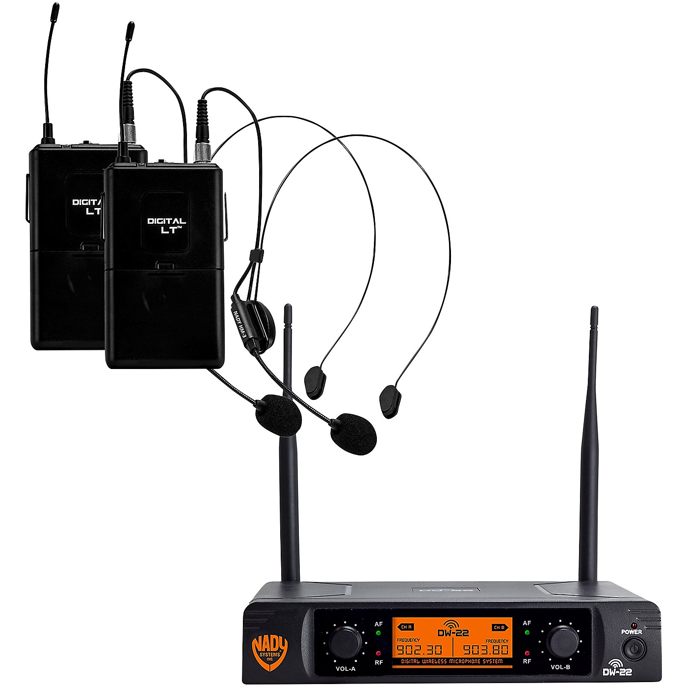 Nady DW-22 LT 24 bit Digital Dual Headmic Wireless Microphone System thumbnail