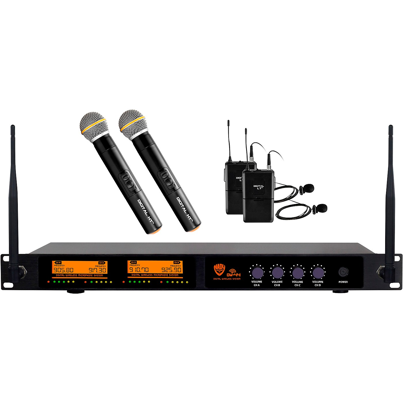 Nady DW-44 Quad Digital Wireless Combo System with Two Handheld & Two Lapel Microphones thumbnail