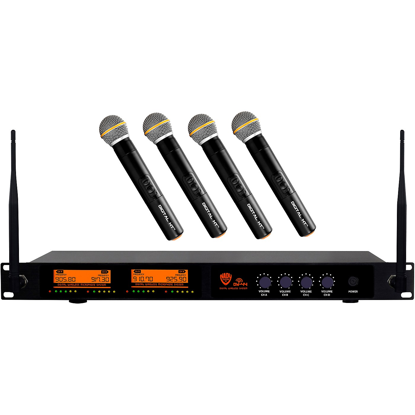 Nady DW-44 Quad Digital Wireless Handheld Microphone System with Four Fixed UHF Frequencies with QPSK Modulation thumbnail