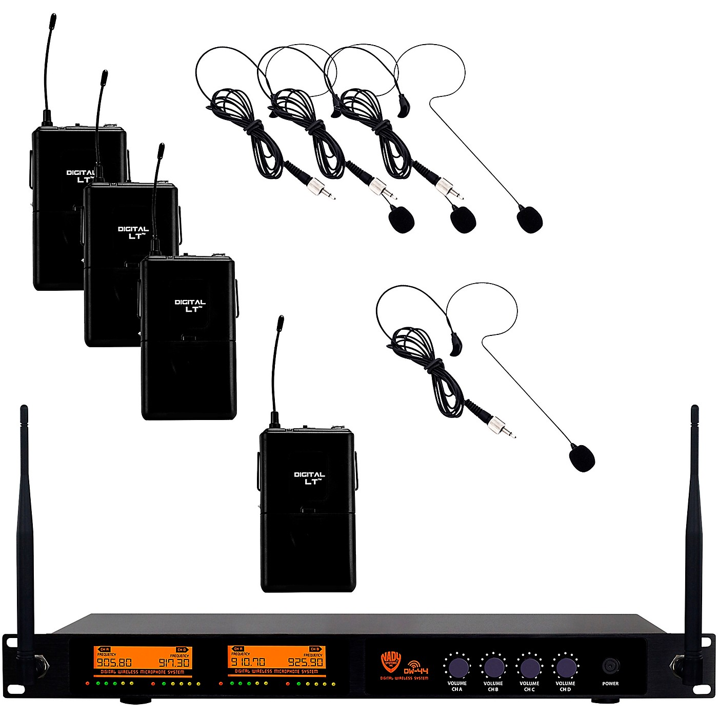 Nady DW-44 Quad Digital Wireless System with Headset Microphone thumbnail
