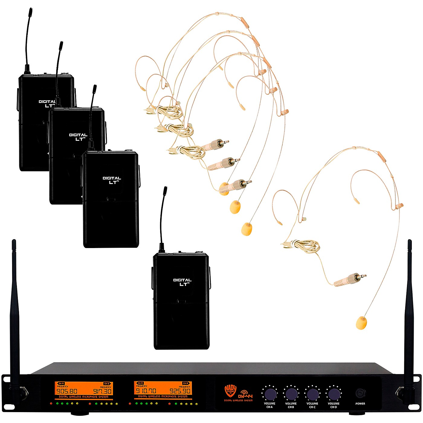 Nady DW-44 Quad Digital Wireless System with Wireless Headset Microphone thumbnail