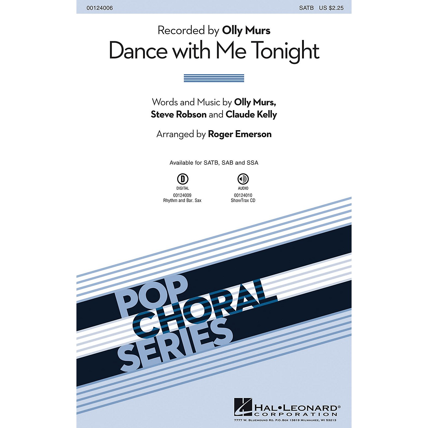 Hal Leonard Dance with Me Tonight SATB by Olly Murs arranged by Roger Emerson thumbnail