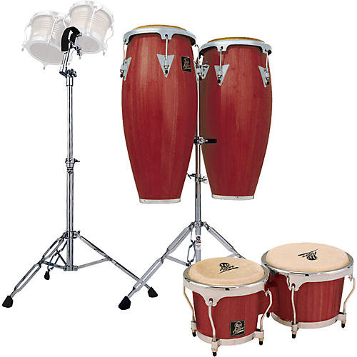 LP Darkwood Aspire Conga Set with Bongos and Stand-thumbnail