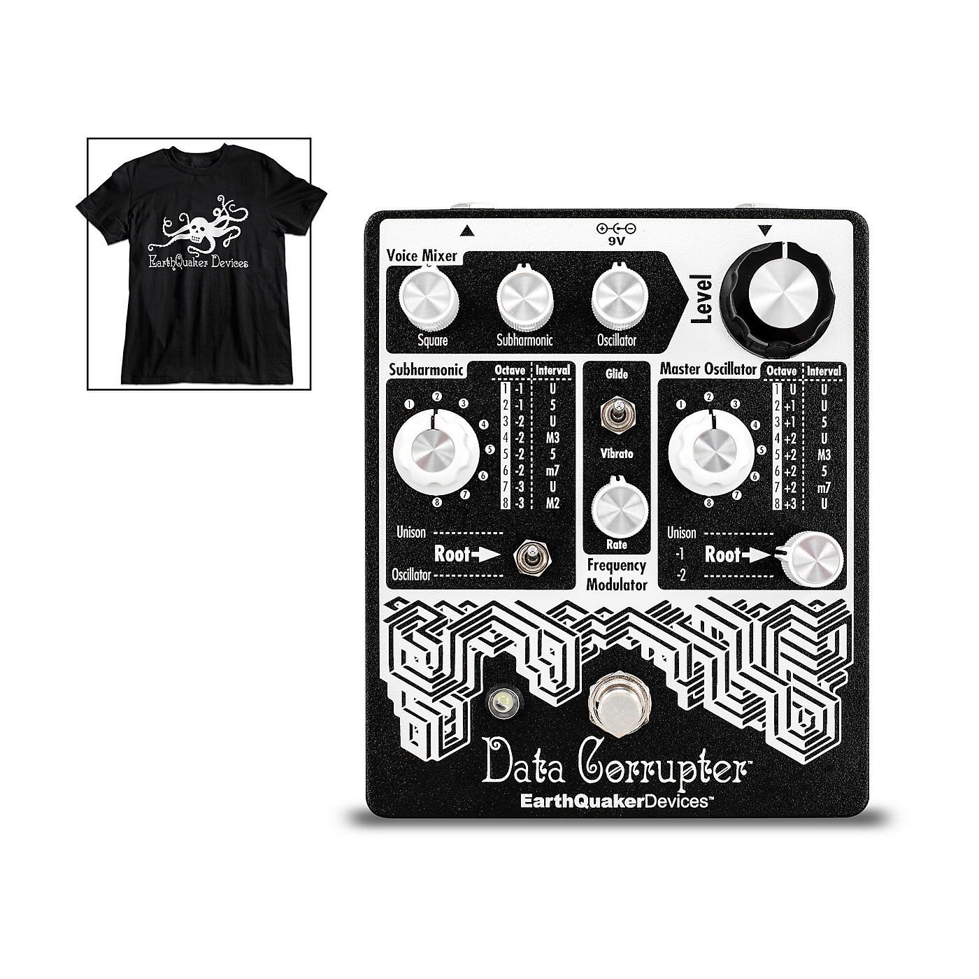 Earthquaker Devices Data Corrupter Modulated Monophonic Harmonizing PLL Effects Pedal and Octoskull T-Shirt Large Black thumbnail