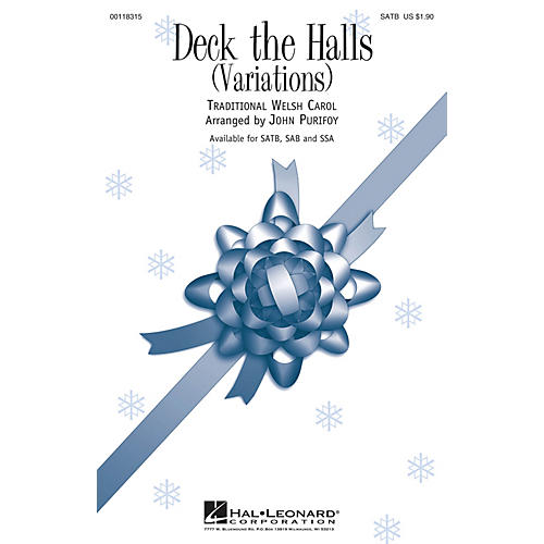 Hal Leonard Deck the Halls (Variations) SATB arranged by John Purifoy thumbnail