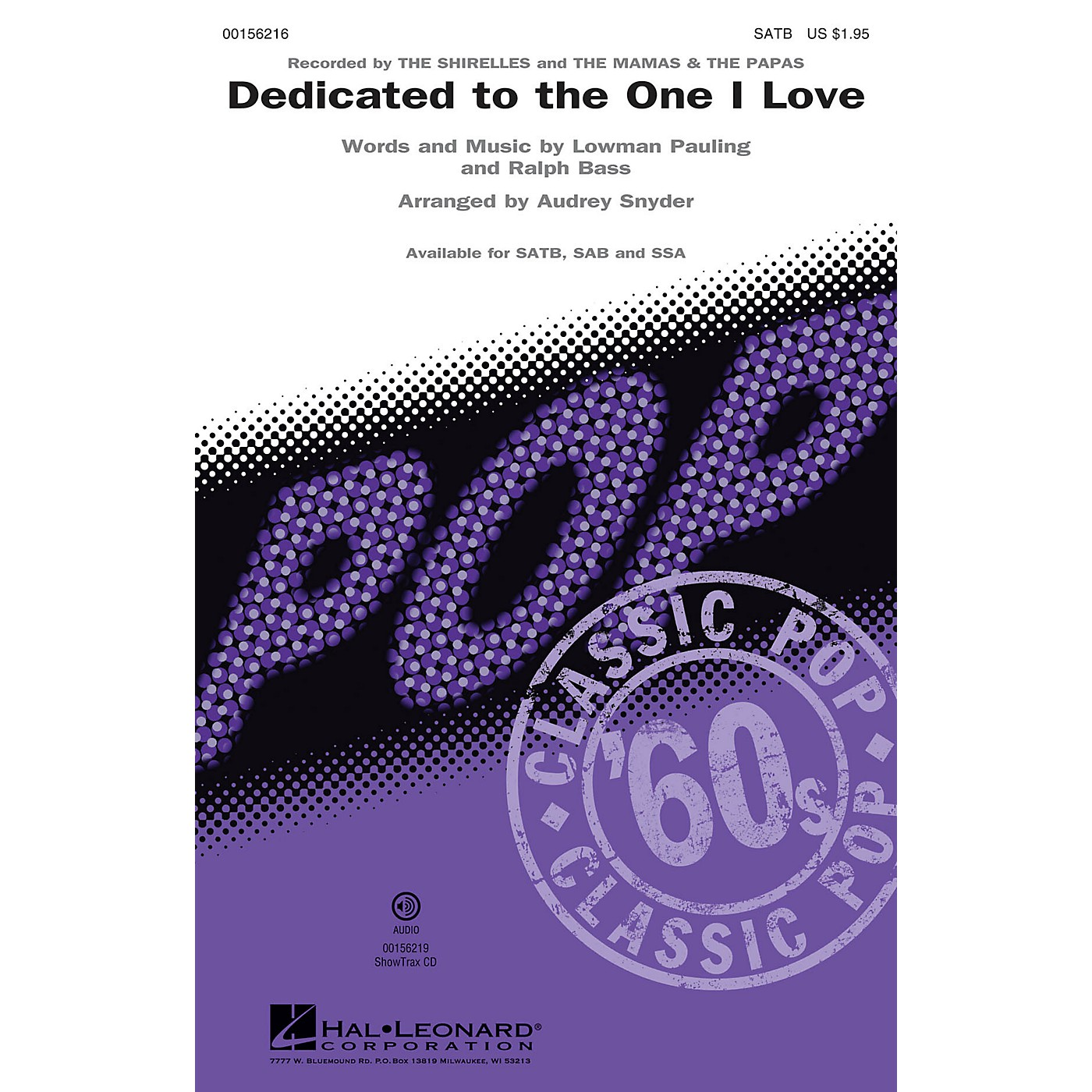 Hal Leonard Dedicated to the One I Love SSA by The Mamas & the Papas and The Shirelles Arranged by Audrey Snyder thumbnail