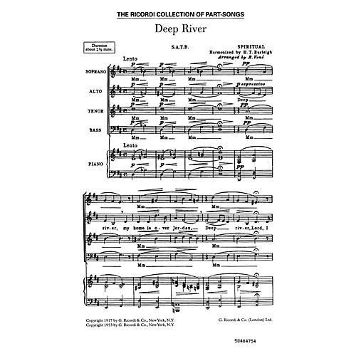 Ricordi Deep River (SATB) SATB Composed by Harry T Burleigh thumbnail