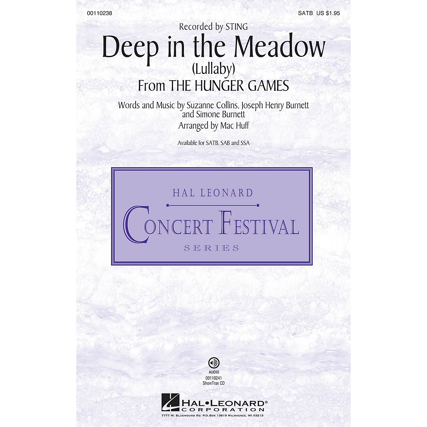 Hal Leonard Deep in the Meadow (Lullaby) (from The Hunger Games)  SATB SATB by Sting arranged by Mac Huff thumbnail