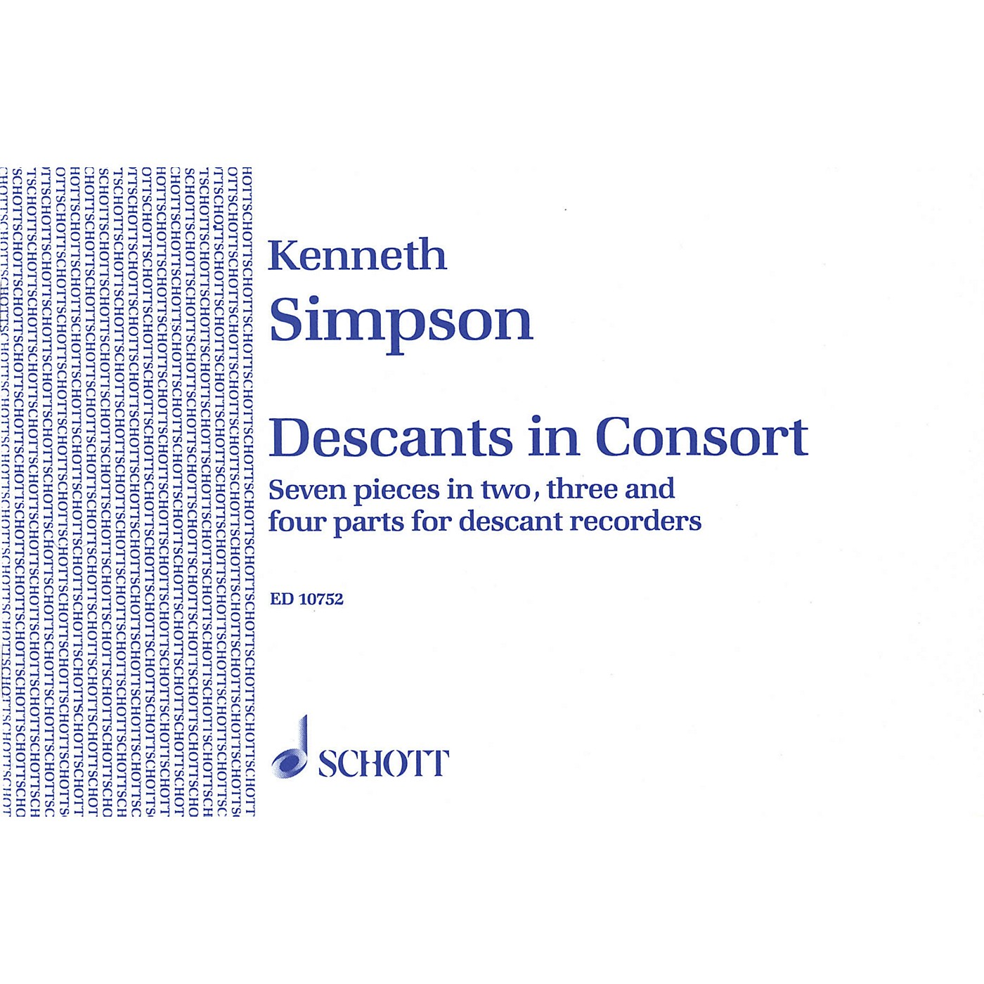 Schott Descants in Consort Schott Series Softcover  by Kenneth Simpson thumbnail