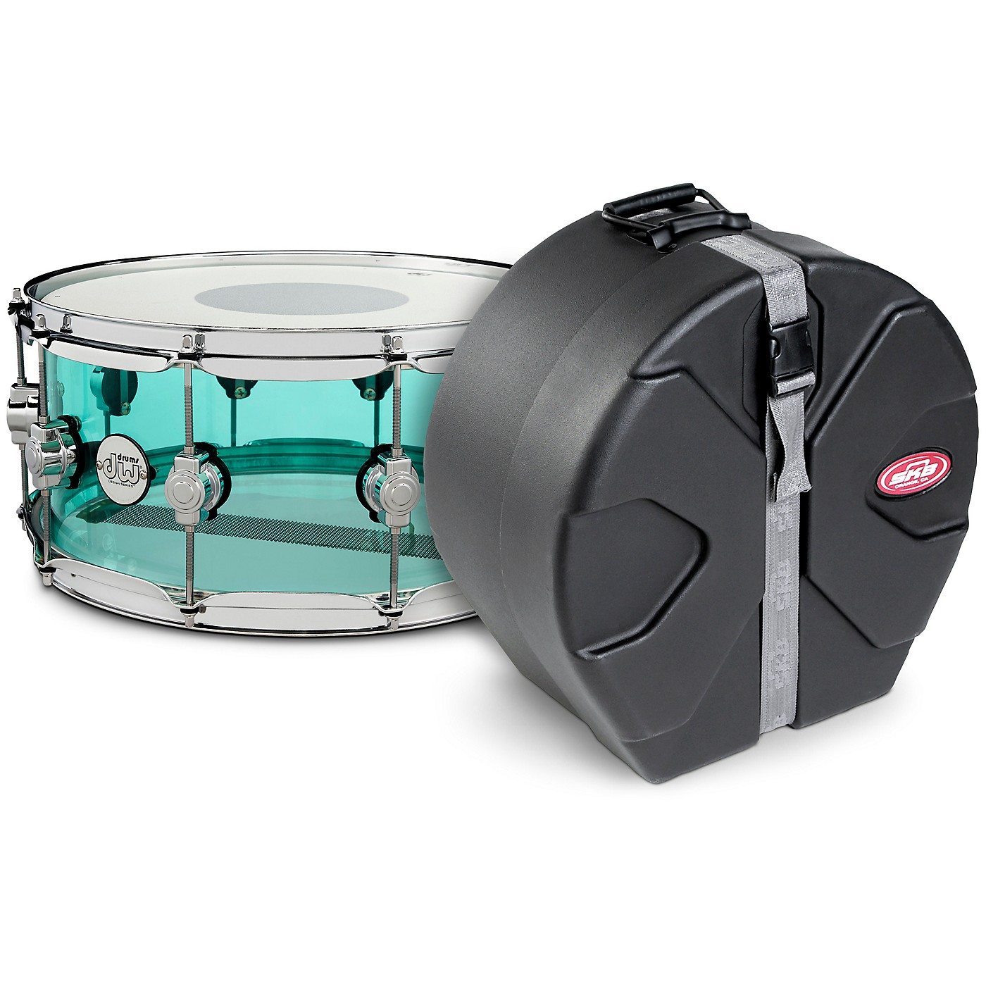 DW Design Series Sea Glass Acrylic Snare Drum, Chrome Hardware with SKB Case thumbnail