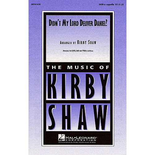 Hal Leonard Didn't My Lord Deliver Daniel? SATB a cappella arranged by Kirby Shaw thumbnail